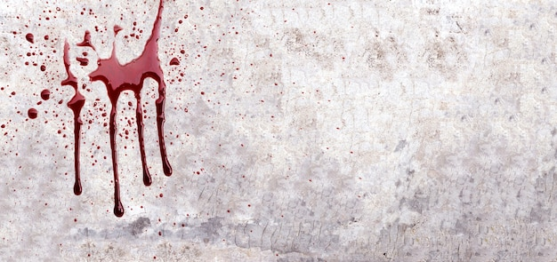 Blood on cement wall or concrete surface texture for background. copy space