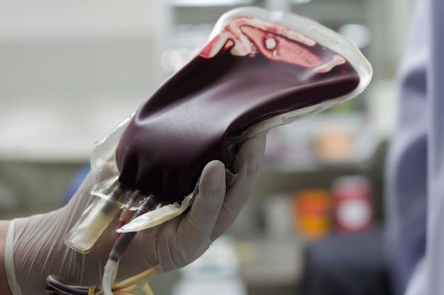혈액 주머니에 헌혈자