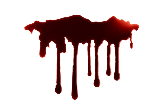 Blood dripping with clipping path isolated on white background