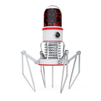 흰색 바탕에 카메라, 발톱, 바늘이 있는 혈액 나노 로봇. 3d 렌더링.