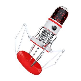 흰색 배경에 혈액 세포 위에 카메라, 발톱, 바늘이 있는 혈액 나노 로봇. 3d 렌더링.