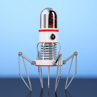 Blood nano robot with camera, claws and needle on a blue background. 3d rendering.