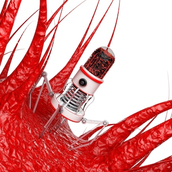 Blood nano robot with camera, claws and needle over virus, bacteria, microbe on a white background. 3d rendering.