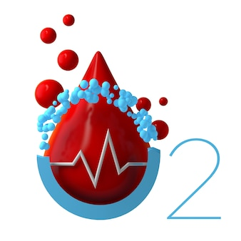 Blood oxygen saturation icon with heart pulse rate. minimal and modern design. 3d illustration.