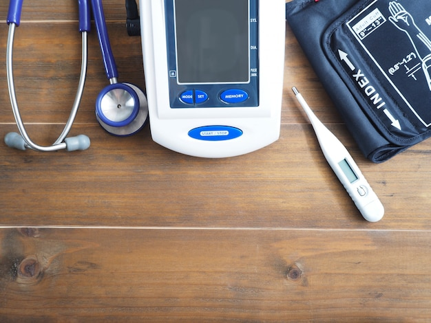 Blood pressure monitor, stethoscope and thermometer
