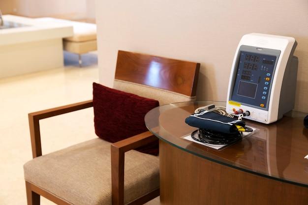 Blood pressure test tool on table