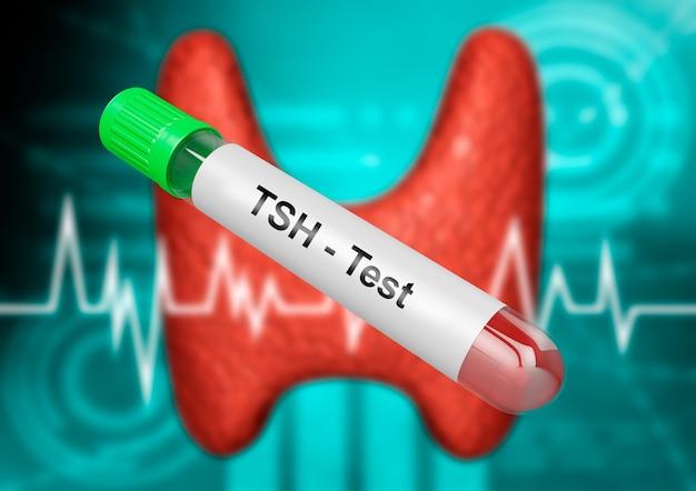Пробирка для пробы крови для тестирования тиреотропного гормона. тест ттг. 3d рендеринг