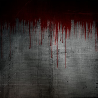 グランジの金属の背景には、血液の飛沫と水滴