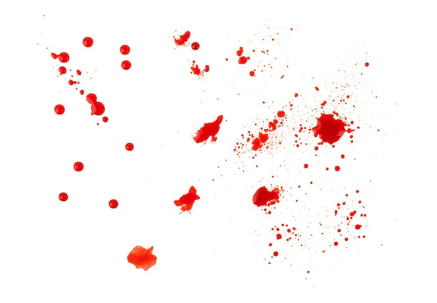 Blood splatters isolated on white. clipping path. set