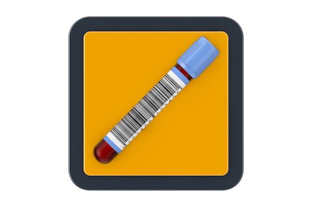 Пробирка колбы для анализа крови как кнопка значка сети touchpoint на белом фоне. 3d рендеринг