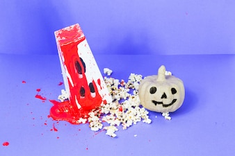 Bloody carton and jack-o-lantern