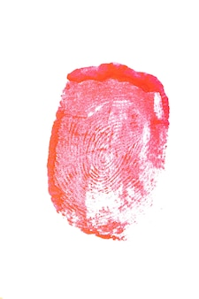 Bloody fingerprint isolated on a white background