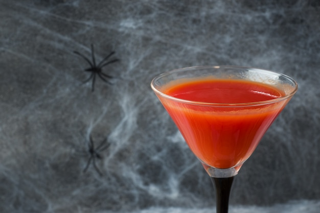 Bloody mary cocktail, spider web for halloween,