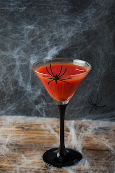 Bloody mary cocktail, spider web for halloween