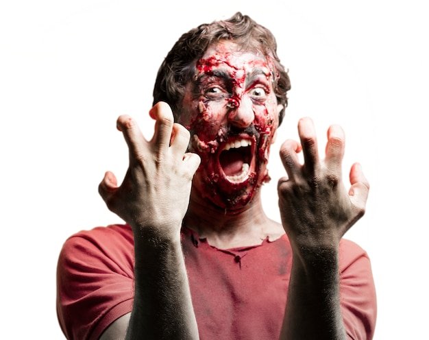 Bloody zombie screaming