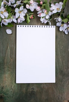 Blooming apple tree and blank notebook