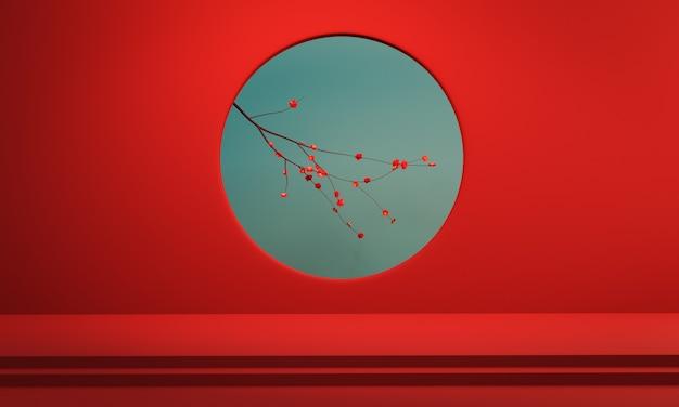 Цветущая вишня в красном фоне стены круглое отверстие.