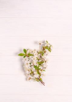 白に咲く桜の枝