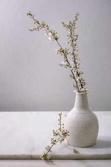 Blooming cherry branches in craft white porcelain vase on white marble table.