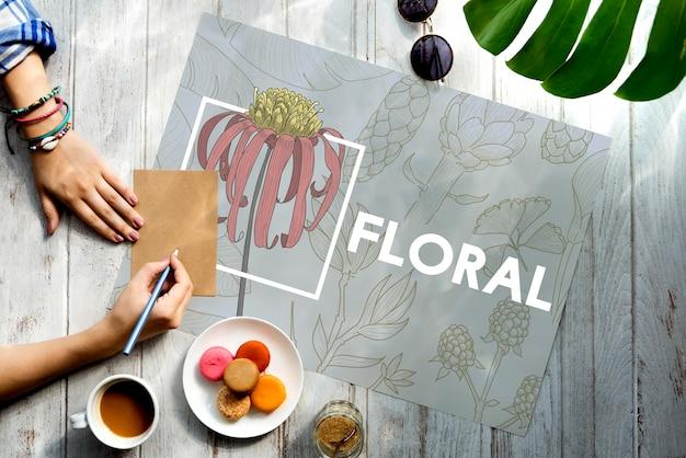 咲く花の芸術と工芸品の自然