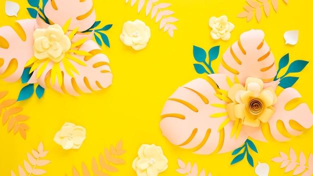 Цветущая папайя, цветы и листья, орнамент