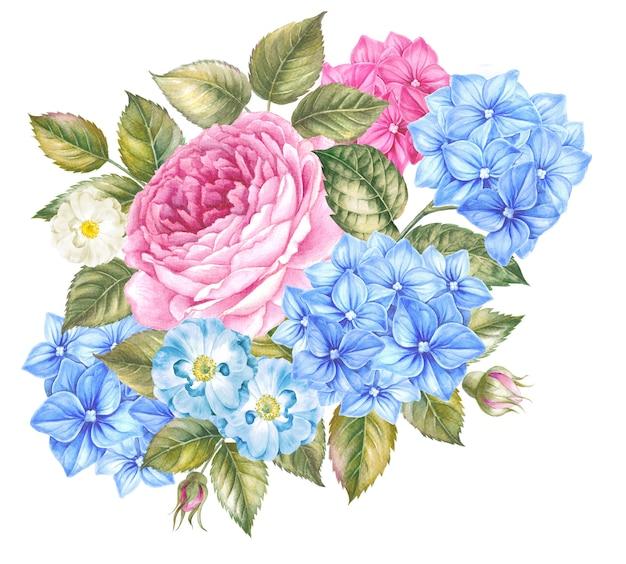 咲くバラの花の水彩イラスト。デザインのビンテージスタイルのかわいいピンクのバラ。