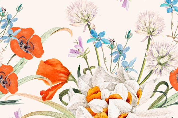 Blooming spring floral pattern background, remixed from public domain artworks