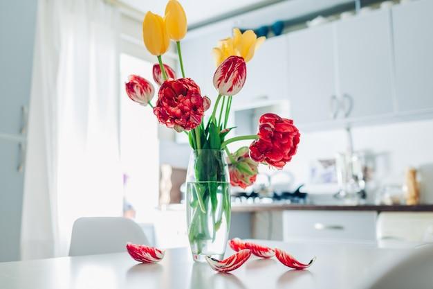 Blooming tulips in vase