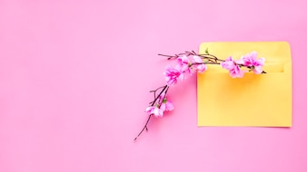 Blooming twig in envelope