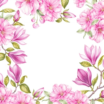 Blossom magnolia and japanese cherry flowers framed background