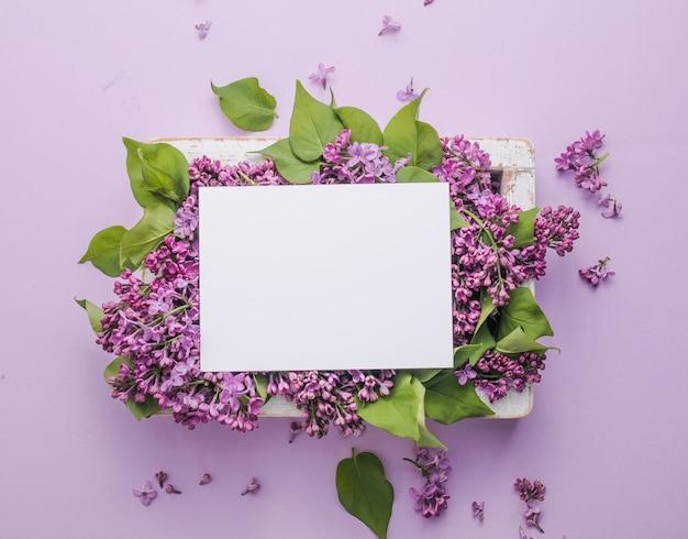 花のロマンチックな花の構成は、紫色の背景にライラックの花とフレームをモックアップします。 Premium写真