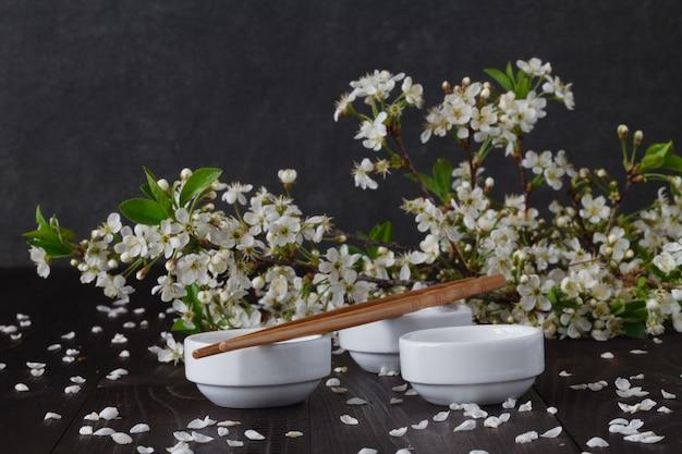 Blossoms in small dish