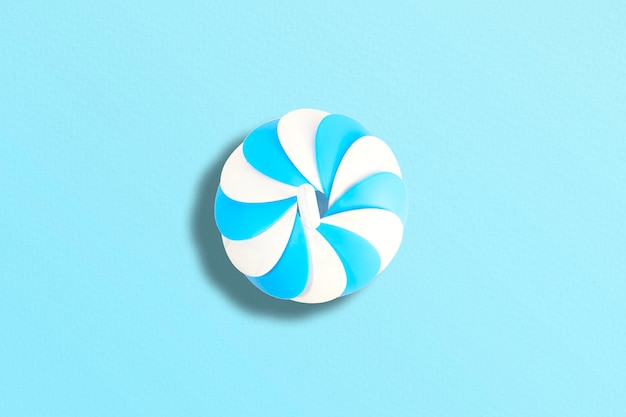 Blower model plastic plate with pastel blue background