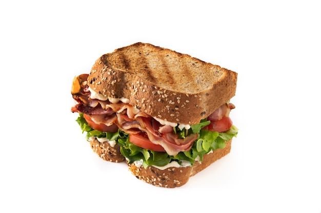 Blt sandwich with bacon lettuce and tomato isolated