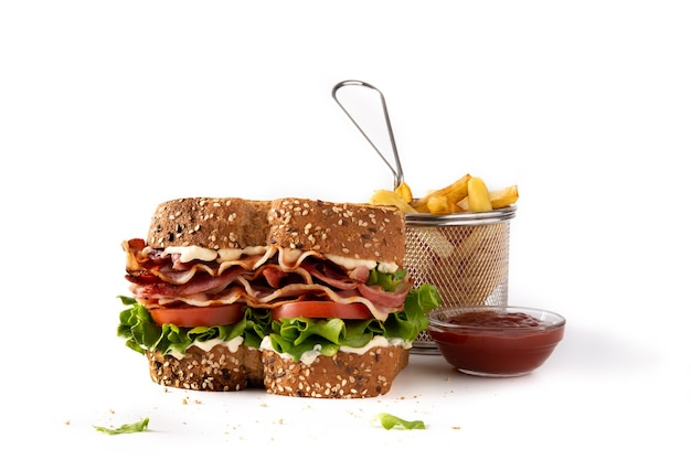 Blt sandwich with french fries and ketchup isolated