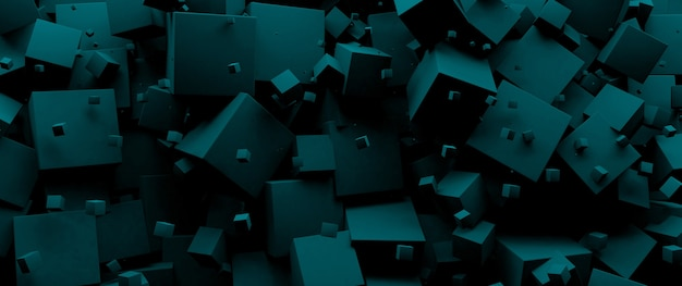 Blue 3 d cubes background, panoramic image