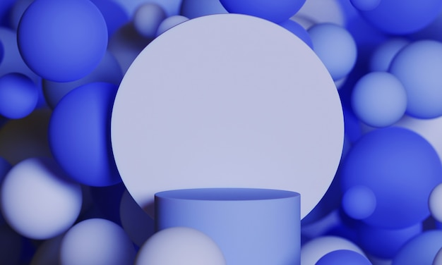 Blue 3d mock up podium with flying spheres or balls in navy blue. bright stylish contemporary abstract modern platform for product or cosmetics presentation. render scene with geometric shapes.
