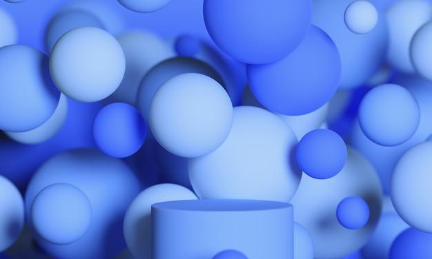 青い3dは、飛んでいる球体またはボールで表彰台をモックアップします。製品や化粧品のプレゼンテーションのための明るくスタイリッシュな現代的な抽象的なモダンなプラットフォーム。
