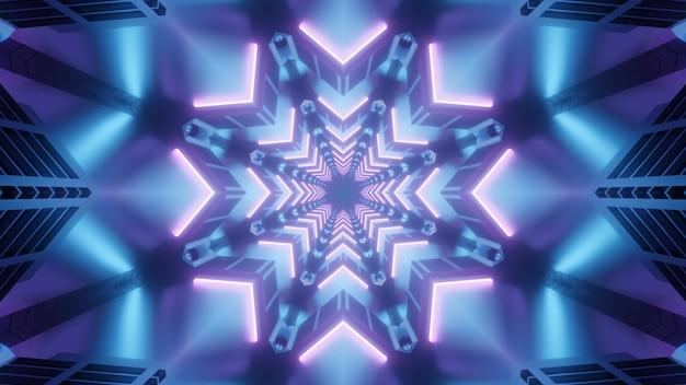 Синий 4k uhd неоновая звезда гиперпространственный туннель 3d иллюстрации фон