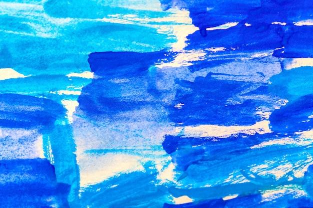 青い抽象的なアクリル絵の具アクアレル水彩背景。
