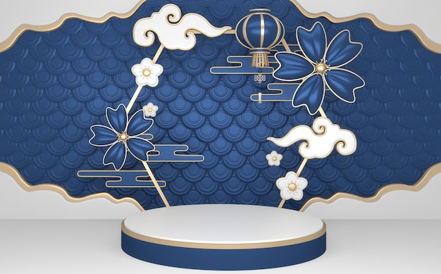 Синий абстрактный геометрический фон, концепция синий подиум в японском стиле. 3d-рендеринг