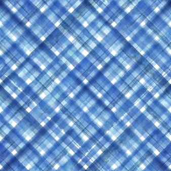 青い抽象的な幾何学的な斜めの格子縞のシームレスなパターン。水彩の手描きの青と白のトレンディな背景。