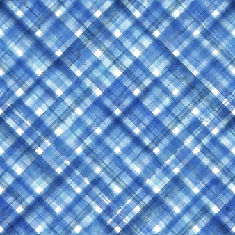 Blue abstract geometric diagonal plaid seamless pattern. watercolor hand drawn blue and white trendy background.