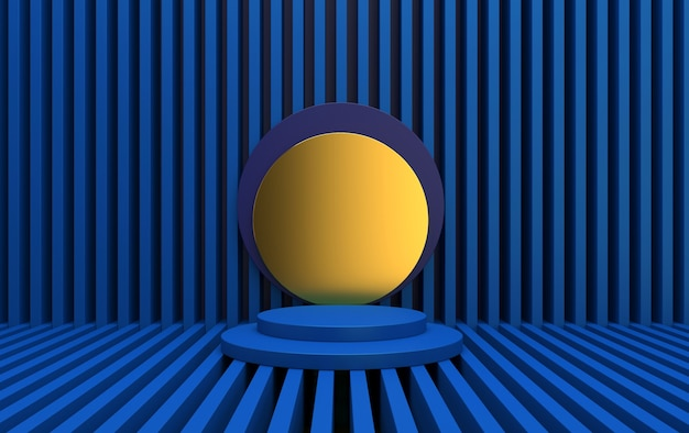 Blue abstract geometric shape group set, linear abstract background, 3d rendering, scene with geometrical forms, minimalistic round platform, golden disk
