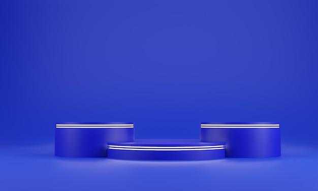 블루 추상적 인 기하학 모양 배경입니다. 화장품 또는 다른 제품, 3d 렌더링을위한 파란색 연단과 흰색 광선 막대 모형 장면