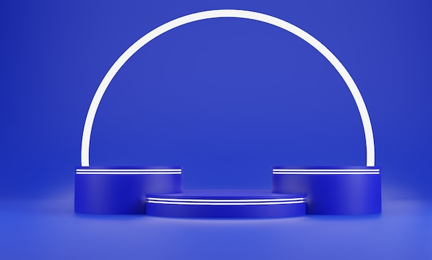 Blue abstract geometry shape background. blue podium and white glow bar mockup scene for cosmetic or another product, 3d rendering