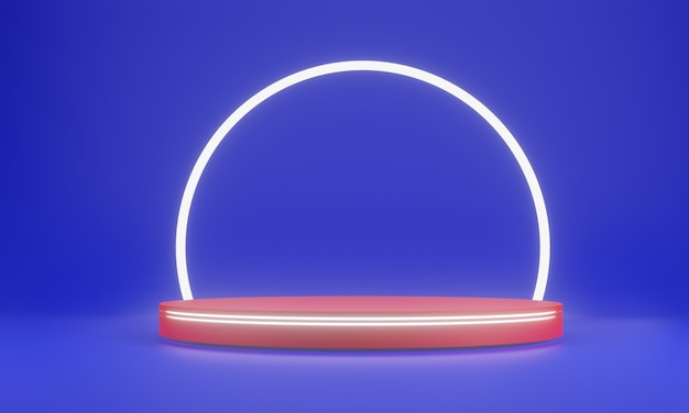 Blue abstract geometry shape background. red podium and white glow bar mockup scene for cosmetic or another product, 3d rendering