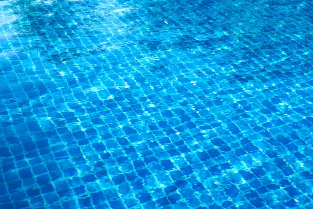 Blue abstract mosaic tiles at the bottom of the swimming pool, background.