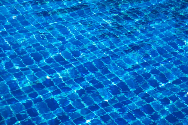 Blue abstract mosaic tiles at the bottom of the swimming pool