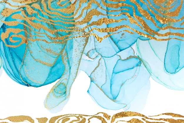 Blue abstract pattern with golden waves. ocean style watercolor texture.